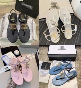 cc Gabrielle Bonheur Canal de verano de las mujeres sandalias de la marca cordón hueco Súper botón de metal blando atractivo original de cuero sandalias planas de las señoras gg