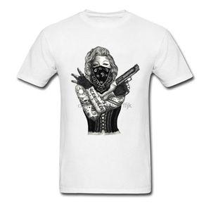 Branco camisetas Sexy Marilyn Monroe Gangues Gunslinger Homens T Shirt Verão Tops Tees Sex Artilheiro T-shirt Moda Tattoo Tee