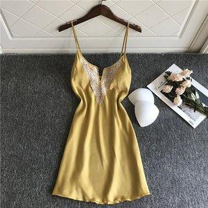 MECHCITIZ Lingerie Sexy soie femmes Nightgowns dames Chemise de nuit en satin vêtements de nuit Chemises de nuit à encolure en V pour les femmes Nuisettes