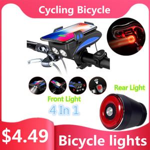 LED de bicicleta Luz 4 em 1 USB recarregável Frente de bicicleta Luz Smart Start Rear / Stop Brake Sensing IPx6 Waterproof