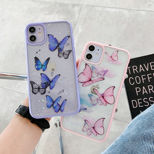 Cute Laser Purple Butterfly Phone Case for iPhone 11 Pro Max SE 2 2020 XR X XS MAX 7 8 Plus Glitter Clear Silicone Cover Coque