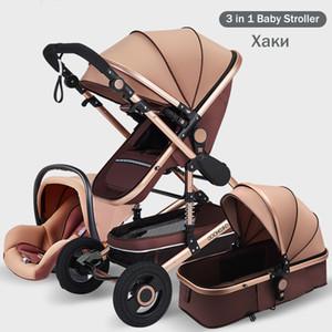 3 in 1 passeggiatore del bambino portatile ad alta Paesaggio Black Gold Carrozzina pieghevole multifunzionale infante appena nato Passeggino