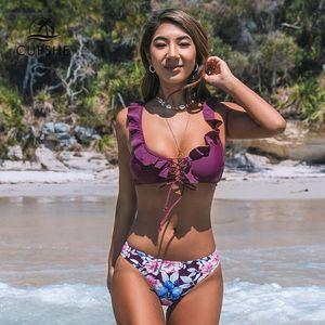 Purple Ruffles And Floral Print Bikini Sets Sexy Lace Up Swimsuit Two Pieces Swimwear Women 2020 Beach Bathing Suits