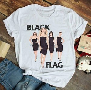 Sex and the City Flag Negro blanco de la camiseta de las señoras S-3XL proveedor estadounidense de alta calidad Camiseta de algodón