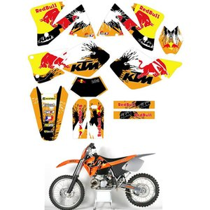 Kit de gráficos para KTM EXC 250 300 125 200 380 400 520 1998 1999 2000 2001 2002 2003 Número personalizada Kit de pegatinas Decal