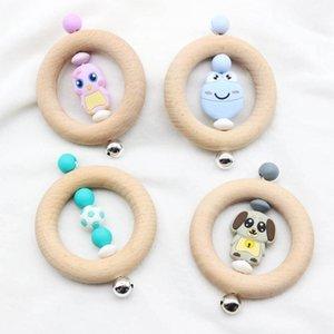 INS de haute qualité bébé naturel Bague en bois Tétines bébé doigts exercice jouets pour bébé Silicon perlée Sucette de dentition B1772 jouets