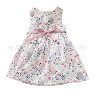 Diseñador niñas imprimió el vestido sin mangas de la mariposa de los niños Imprimir vestidos de los niños ocasionales sin mangas de la princesa faldas chicas una línea de vestidos de la venta caliente