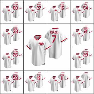 CincinnatiKırmızılar Erkekler 7. Eugenio Suarez 11 Barry Larkin 19 Joey Votto Kadınlar Gençlik Özel Beyaz Cooperstown Koleksiyonu Ana Jersey