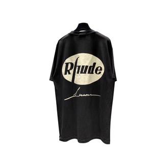 2019 Rhude Distressed Aigle Imprimé femmes hommes surdimensionnée T-shirts T-shirts Hiphop Streetwear coton T-shirts Rhude été T200407
