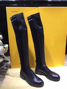 Hot Sale-Black Nappa Cuissard Long Boots Women Stretch Fabric02 Thigh High Boots Designer Stripe Leather Creepers Girl Casual Dress Shoes