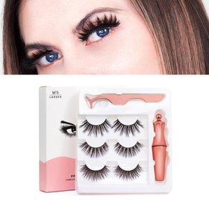 3 Pairs Magnetic Eyelashes Eyeliner Eyelash Set 5 Magnet Natural Long Magnetic False Eyelashes 3D Faux Mink Lash