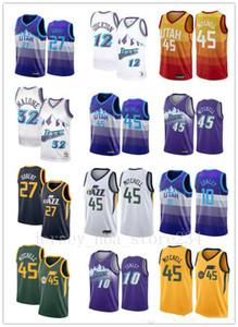 2020 Mens UtahnbaJazz Donovan 45 Mitchell Jersey Mike Conley Rudy Gobert 12 # 32 # Stockton Malone ritorno al passato del pullover di pallacanestro