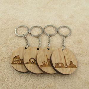 Fashion City Skyline Keychain Wooden Keyring Paris London Rome Keyring New Home Gift