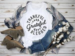 Thankful Grateful Heureux les femmes t-shirt fille qualité casual coton mode cadeau slogan chemise tees esthétique chrétienne grunge haut