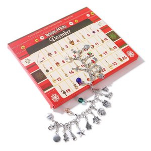 Behogar Merry Christmas Advent Charm Calendar with 22pcs Charms for DIY Bracelet Necklace Jewelry Making Kids Women Gift Present
