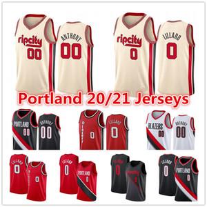 Mens Damian Lillard 0 2020 PortlandSenderoBlazersPantalones cortos de la ciudad de Carmelo Anthony # 00 Cj C. J. 3 jerseys del baloncesto McCollum
