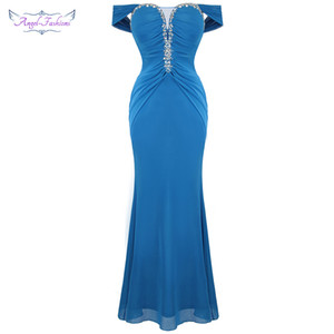 Angel-fashions Women's Party Gown Boat Neck Beading Crystal Pleated Long Mermiad Elegant Evening Dress Blue 495 201119