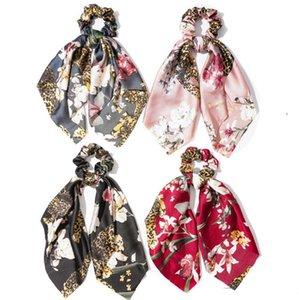 Foulard cheveux Vintage Floral femmes Hairband Chouchous Bow Hair Bands fleur ruban Bandeau Filles Accessoires cheveux 4 Designs DW5545