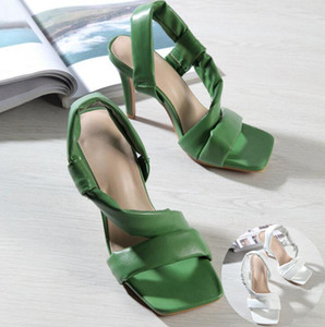 2020 Summer Women Square Toe Sandals Ladies PU Leather Plaid Ankle Strap Comfort Chunky High Heels Slippers Female Fashion Woman Shoes