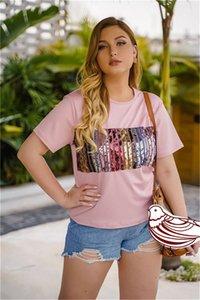 Remiendo de lentejuelas para mujer camisetas del diseñador de moda O-Cuello de manga corta para mujer Tops verano más el tamaño de las señoras de las camisetas ocasionales Tees