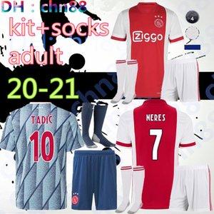 2020 2021 Ajax yetişkin kitleri çorap şort futbol forması kırmızı uzakta Beek üniformalar gömlek erkekler Futbol forması Huntelaar Ziyech Schone de 19 20 van