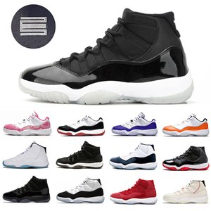 Nike Air Jordan 11 Retro 25th Anniversary 11 Mens Basketball shoes 72-10 Bred Low Concord Black Metallic Silver 11s Cap and Gown Space Jam Men Women Sports designer sneakers Stock