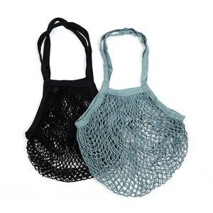 Casual Simple Mesh String Shopping Bag Reusable Folding Pouch Vegetables Fruit Mesh Net Woven Cotton Shoulder Bag Hand Totes Home Storage