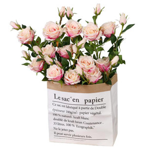 seta all'ingrosso di rosa fiori di un pezzo due teste di fiore 70cm altezza artificiale della Rosa di fiore Per la casa decorazione del giardino