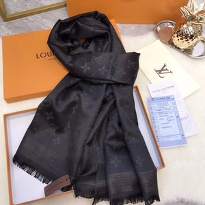 Christmas gift High Quality Celebrity design Wool cashmere Silk Cotton scarf Wrap shawl Letter printing Long Scarves 180*70CM black