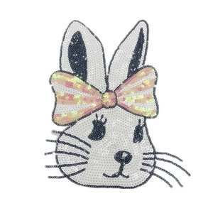 10 pieces Sequin bow rabbit cartoon bead embroidery embroidery sweater T-shirt clothing decoration patches embroidered cartoon cloth patch