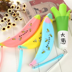 Creative Banana Green Onion Student Pencil Bags Cute Silicone Large Capacity Pencil Cases Purse Bag Girl Gift