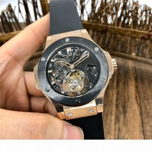 V3 updated true tourbillon heart automatic watch by 44MM18k rose gold case scratch sapphire crystal glass rubber watch strap man watch