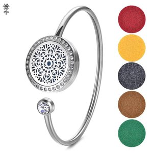 Stainless Steel Essential Oil Diffuser Perfume Locket Bangle Bracelet Magnetic Opening with 5 Color Pads VA-488