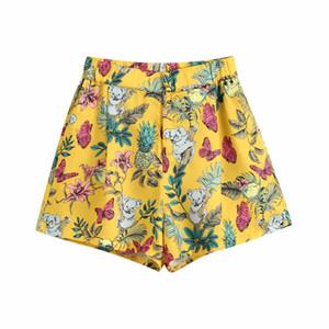 calças meninas ZXQJ vintage boho mulheres calças curtas 2020 padrão sarja verão senhoras calções florais casual calças femininas tie-tingidos