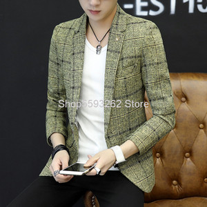 Men Knitting Small Suit Slim Fit Youth Leisure Small Suit Autumn Men's Wear Grid Coat Male
