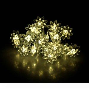 5.8M 20LEDs Güneş Enerjili Sıcak Beyaz Lotus Çiçeği Işık LED Strings Tatil Parti Noel Peri Aydınlatma