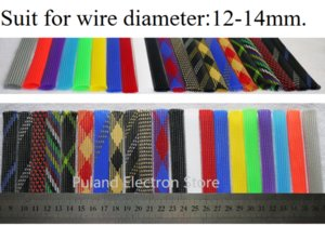 12mm Braided Expandable Sleeve PET Tight Wire Wrap High Density Insulated Cable Harness Line Protector Cover Sheath Single Color