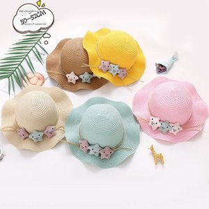 Straw children's new Korean style Fisherman baby cap baby cap five-pointed star sun hat sunscreen cute cartoon fisherman hat
