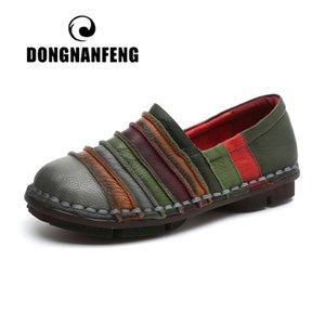 DONGNANFENG Frauen Wohnungen Mutter Schuhe Pigskin Kuh echtes Leder Loafers Vintage-Patchwork beiläufige Gummi Beleg auf 35-42 YD-A707