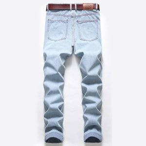 .Famous Men Jeans Hole Zipper High Quality Men Jeans Casual Men Pants Light Blue Casual Hip Hop mens designer sweatpants32.34.36.38
