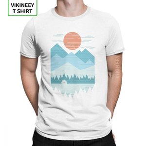 Cabin in The Snow T-Shirt Men Mountains Wilderness Hiking T Shirt Trekking Outdoors Camping Novelty Tees O-Neck Cotton Clothes