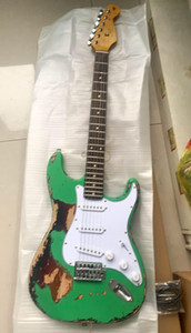 Wholesale New handmade remains ST electric guitar Masterbuilt guitar John Cross & John Mayer gitaar stratocaster relics aged green 20200106