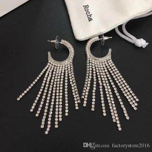 Luxury Designer Shining Crystal Earrings for Women Fashion White CZ Diamong Tassel Circle Earrings Jewelry for Party Gift