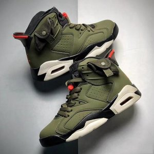 TOP quality Infant TS 6s Cactus Jack kids basketball shoes Olive High 6 TS sneakers outdoor sports Children Boy Girl Trainers