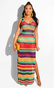 Females Sexy Rainbow Striped Dress Summer Designer Spaghetti Strap Hollow Out High Split Beach Smog Womens Knit Backless Contrast Color