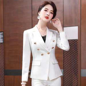 Femmes Blazer Manteau 2020 Big Brand pleine manches à double boutonnage Bouton Costume Blazers Slim Bureau Lady Casual Business Suit
