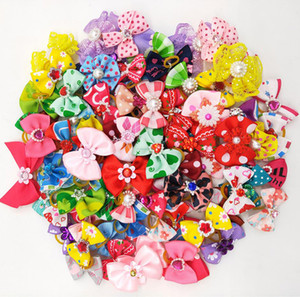 Dog Hair Bows with Rubber Bands Dog Topknot Bows Pet Hairpin Cute Pet Hair Clips Pet Grooming Cat Teddy Little Flower Bows