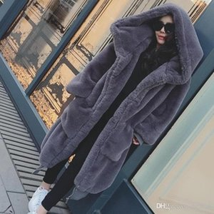 Best-selling Brand New Ladies Winter Warm Hooded Large Size Coat Faux Fur Loose Coat Winter Casual Long-sleeved Ladies Coat Size XS-SL