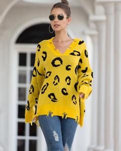 Giyim Polka Dot Delik Kadın Knits Katı Renk V Yaka Kadın Delik Casual Bayanlar Designer Tops