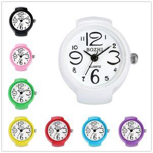 8 Colors Round Case Flexible Elastic Alloy Band Quartz Analog Wrist Watches Finger Ring Watch for Men Women Student